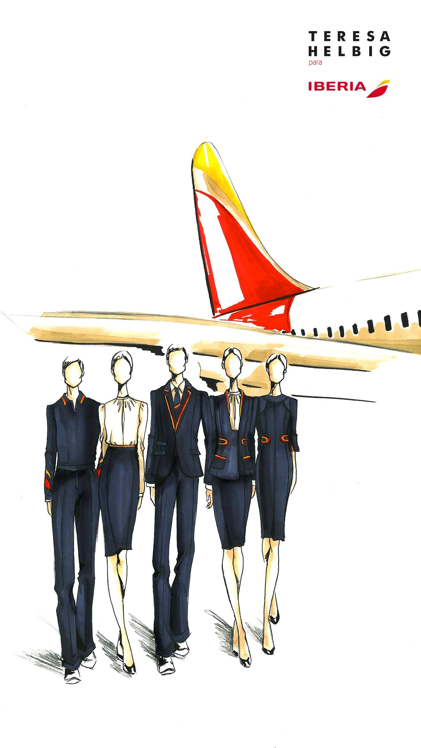 Boceto de los diseños creados por Teresa Helbig para Iberia.
