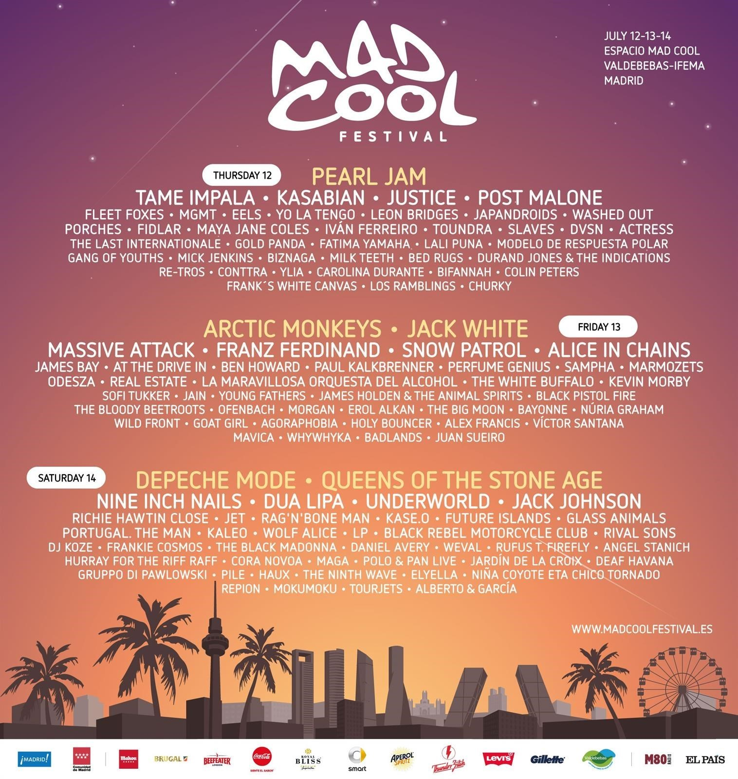 Cartel del MadCool Festival 2018