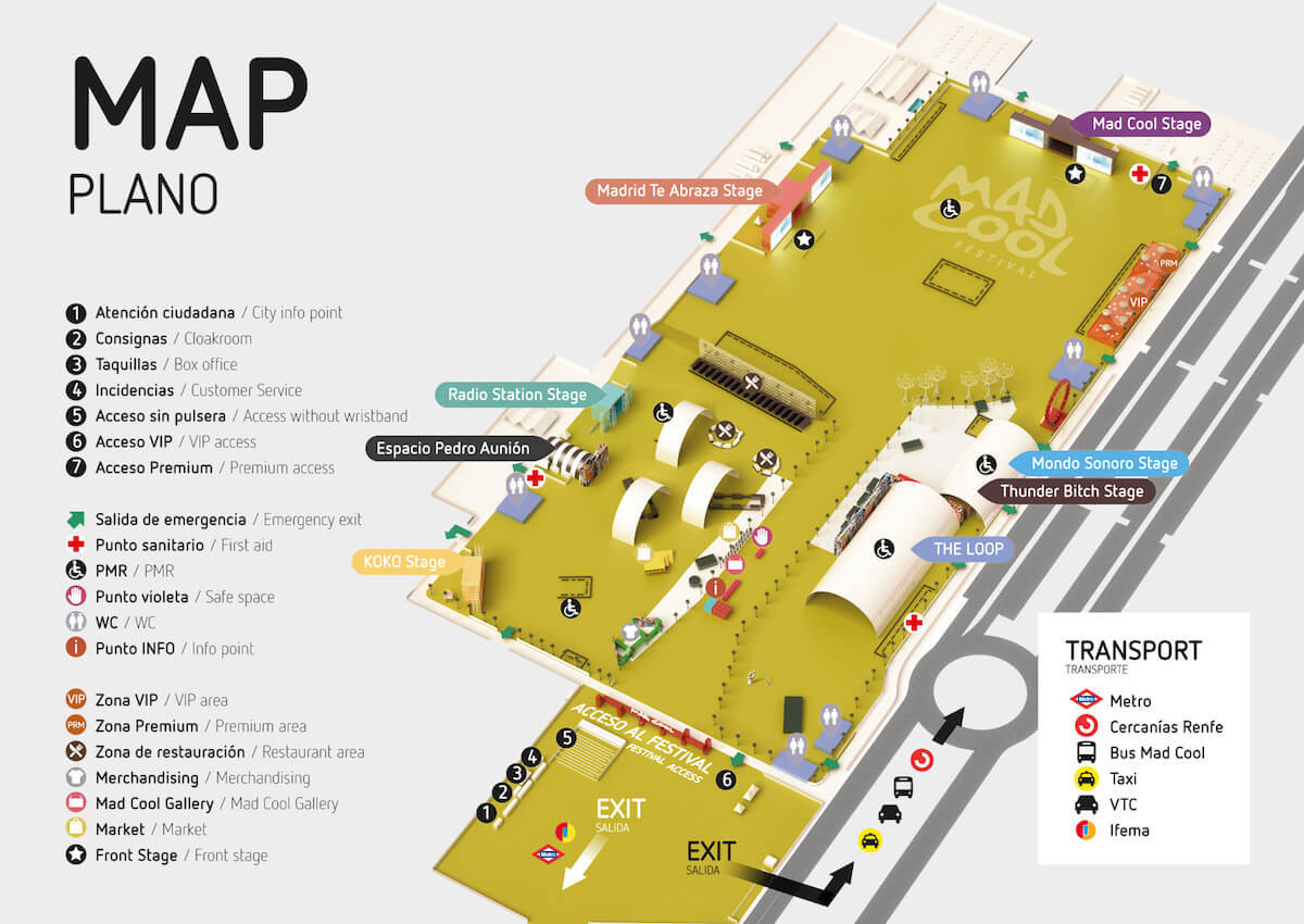Mapa del recinto del Mad Cool 2018.