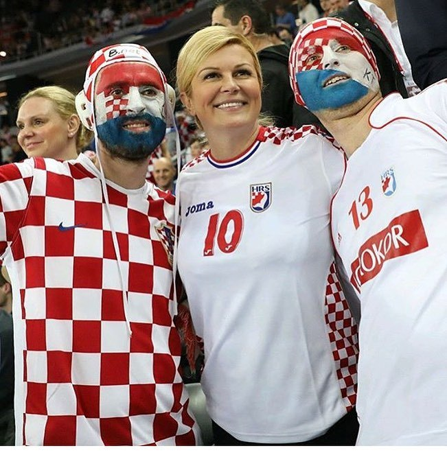 La presidenta de Croacia durante el Mundial de Rusia 2018
