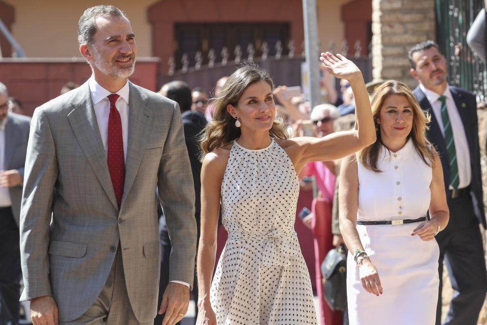 Los Reyes durante su visita a Bailén.