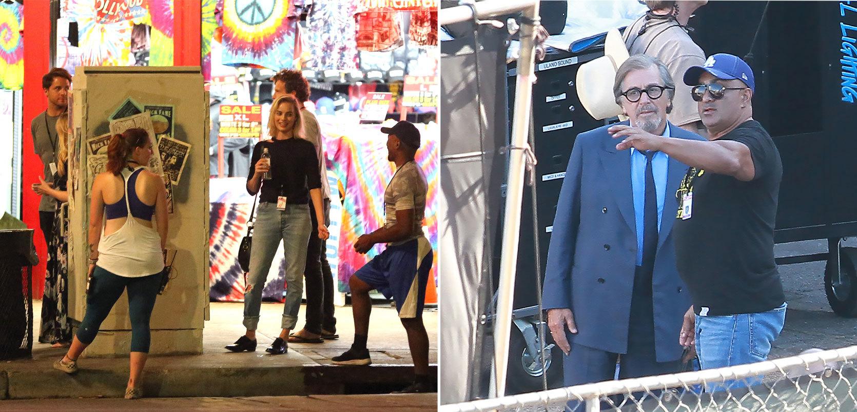 A la derecha la actriz Margot Robbie y a la izquierda Al Pacino,...