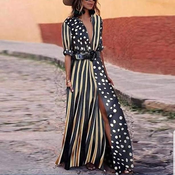 Vestido largo con marga larga y de diferentes estampados, de El...