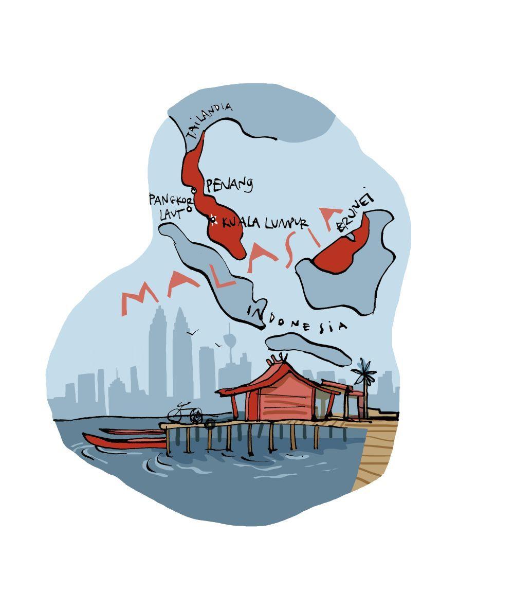 Mapa ilustrativo de Malasia