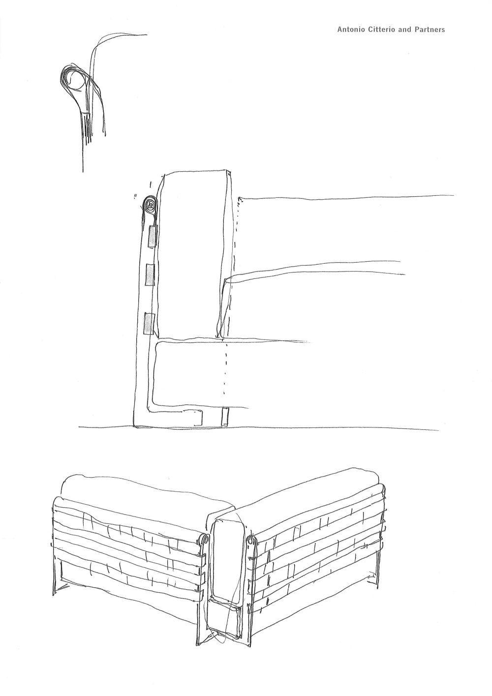 Bocetos del modelo Cestone, hechos por su diseñador, Antonio Citerio