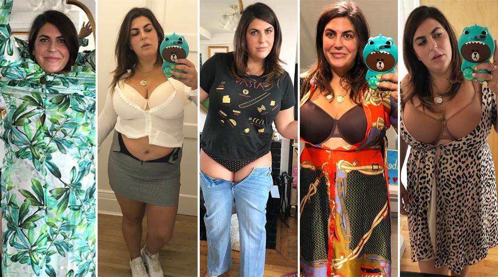 La bloguera Katie Sturino (@the12ishstyle) en diferentes imágenes con...