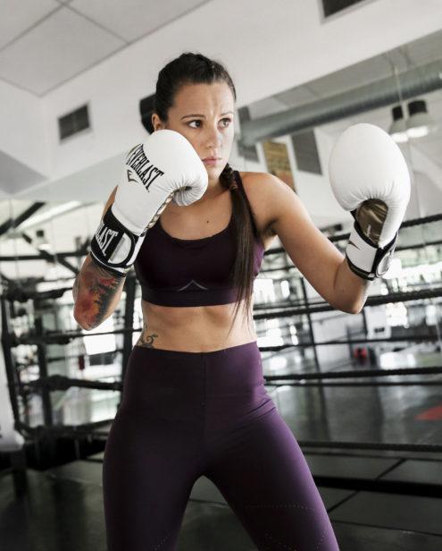 La campeona de boxeo, entrenando con ropa de Oysho.