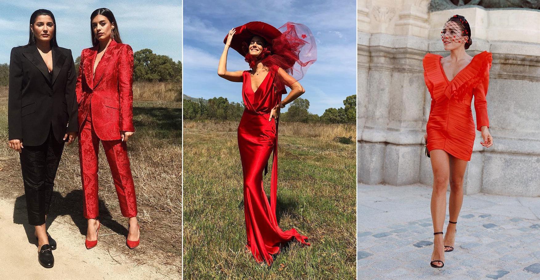 Tres looks diferentes, pero con algo en común: el color rojo.