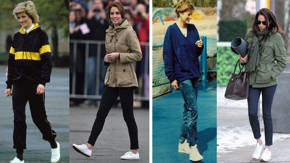 Diana de Gales y Kate Middleton  con zapatillas de Superga. Diana de...