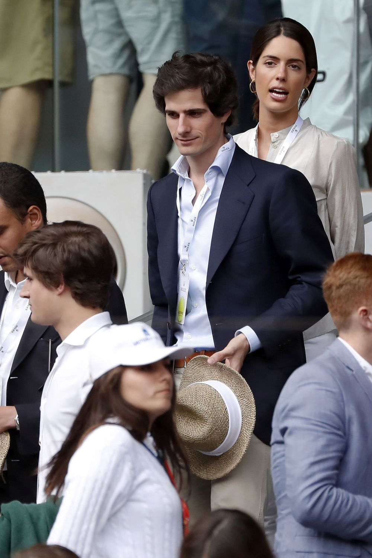 Los prometidos durante un partido de tenis en Madrid.