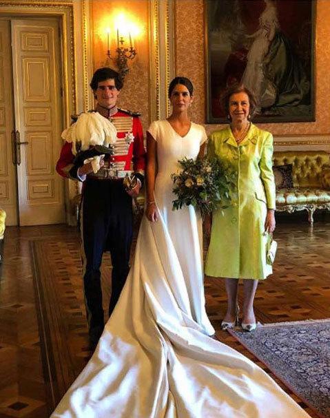 La Reina Sofía posa junto a Sofía Palazuelo y Fernando Fizt-James en...