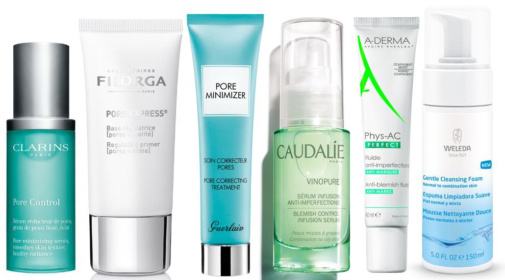 Sérum reductor de poros Pore Control, Clarins (55 euros); Base...