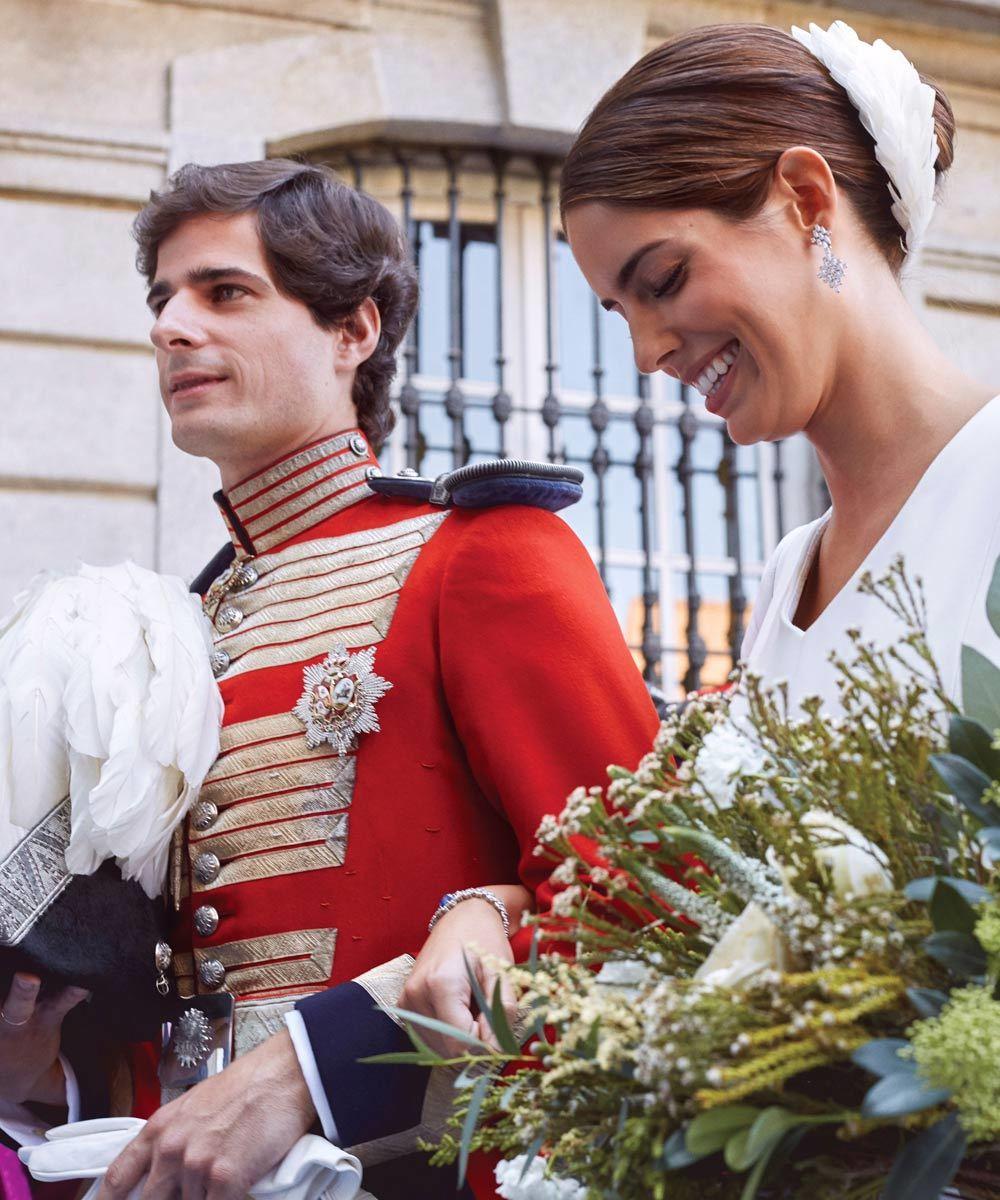 Sofía Palazuelo junto al Duque de Huéscar, recién casados.
