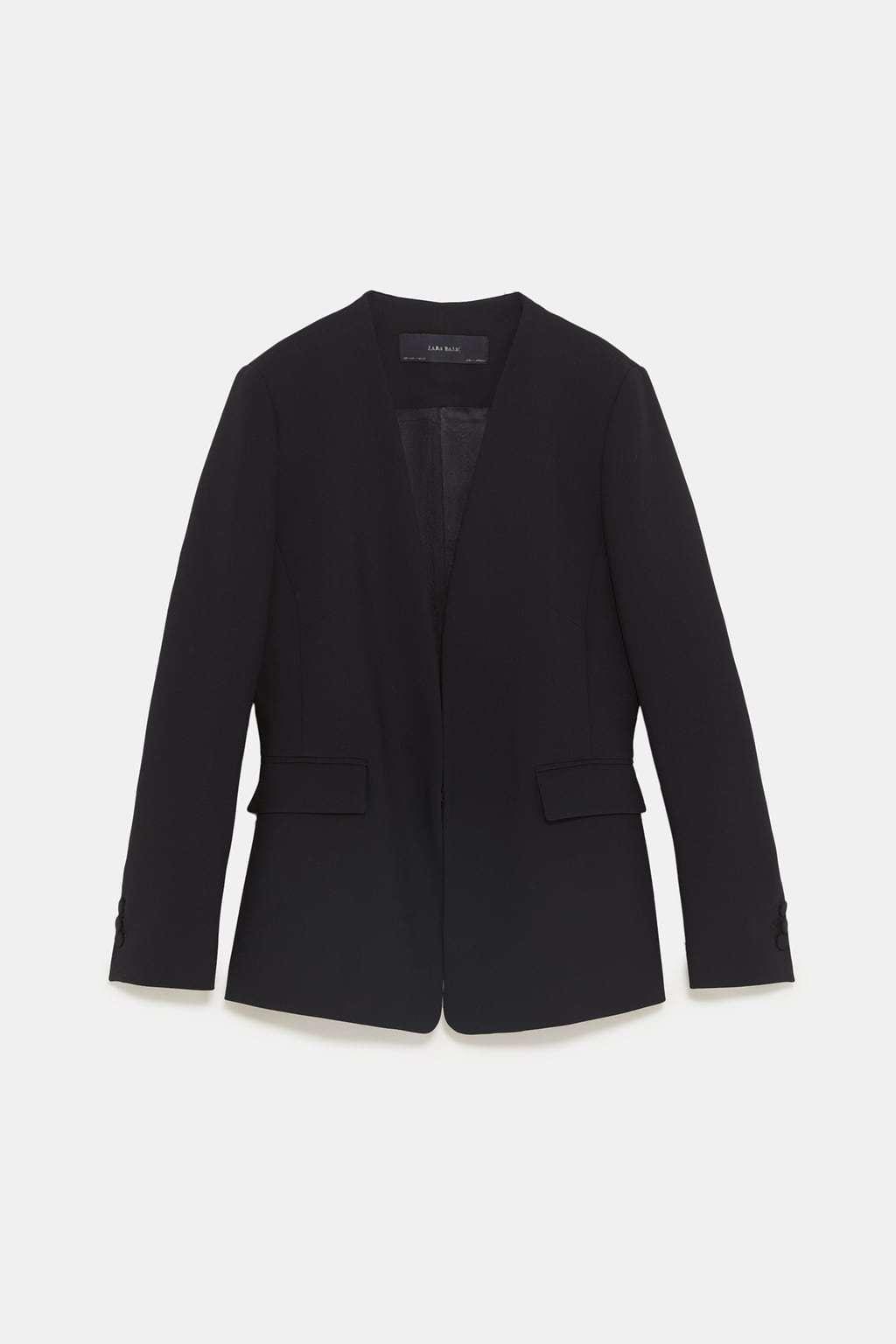 Americana sin solapa de Zara. Precio 39,95 euros.
