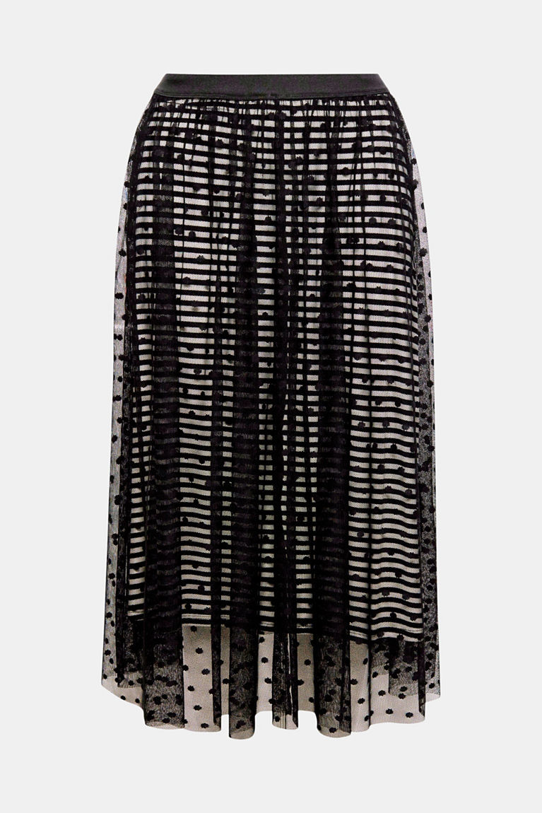 Falda midi de tul con forro de rayas de Esprit (19,99 euros).