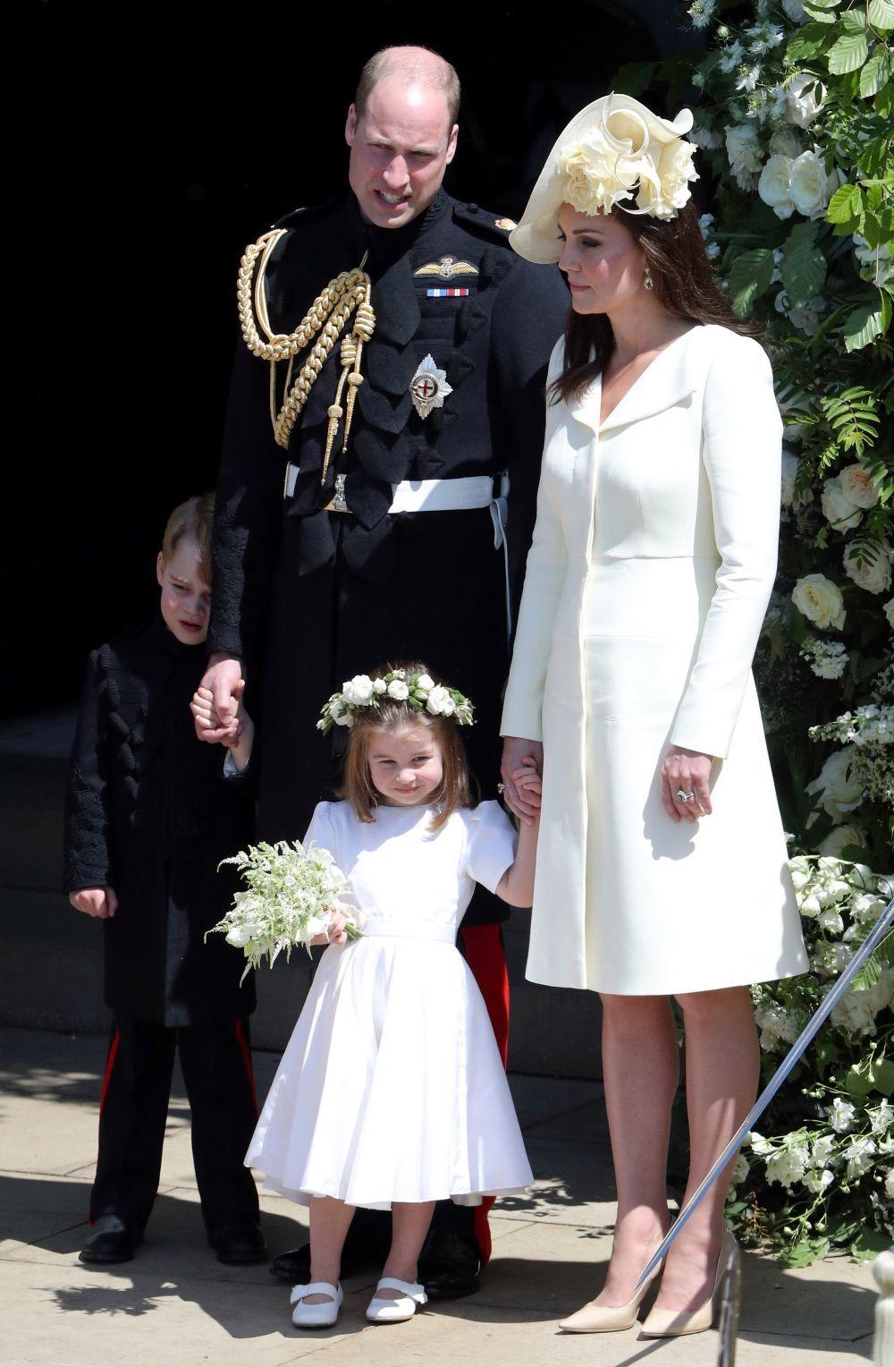 Los Duques de Cambridge con sus hijos en la boda de Harry y Meghan.