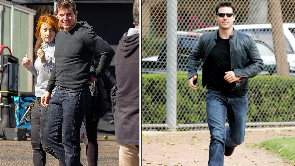 "A la izquierda el actor grabando ""Jack Reacher: Never Go Back"" en 2016..."
