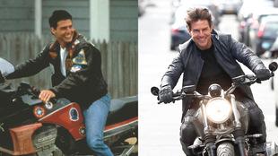 A la izquierda, Tom Cruise en una imagen de Top Gun 1 en 1980 y a la...