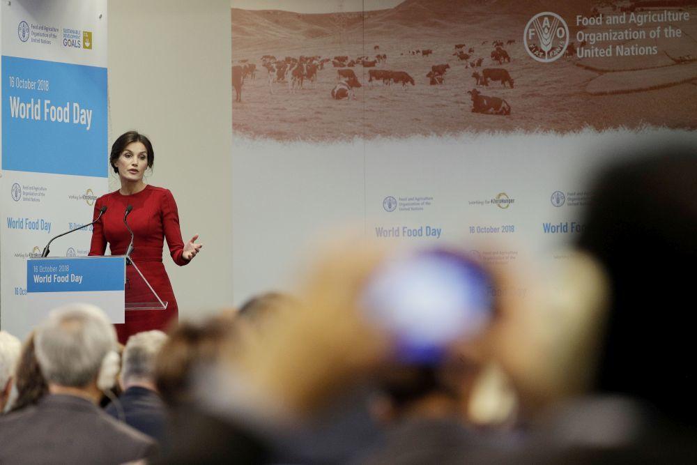 La reina Letizia pronunciando un discurso en la FAO.