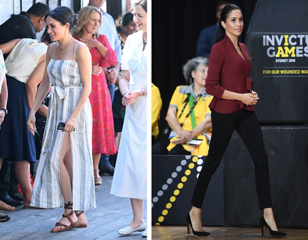La Duquesa de Sussex con calzado de Sarah Flint en dos de sus...