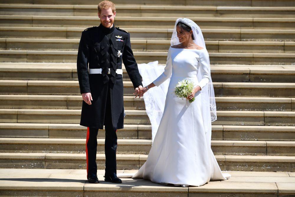 Los Duques de Sussex, a la salida de la Capilla de San Jorge, en el...