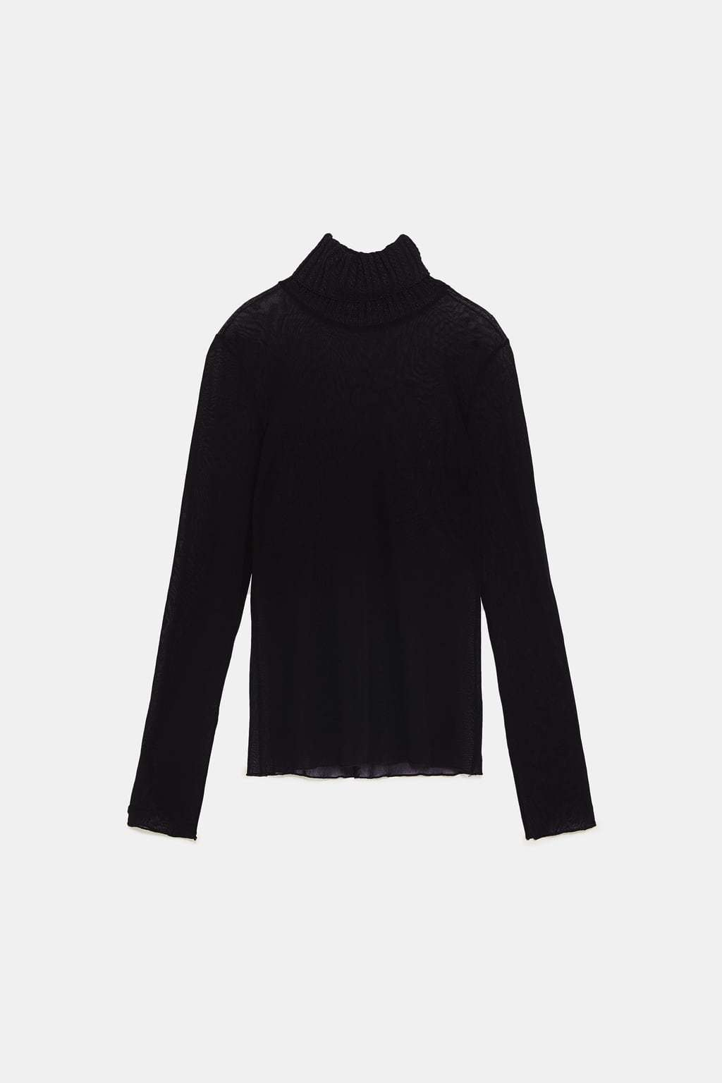 Camiseta en tull combinada de Zara. Precio 15,99 euros.