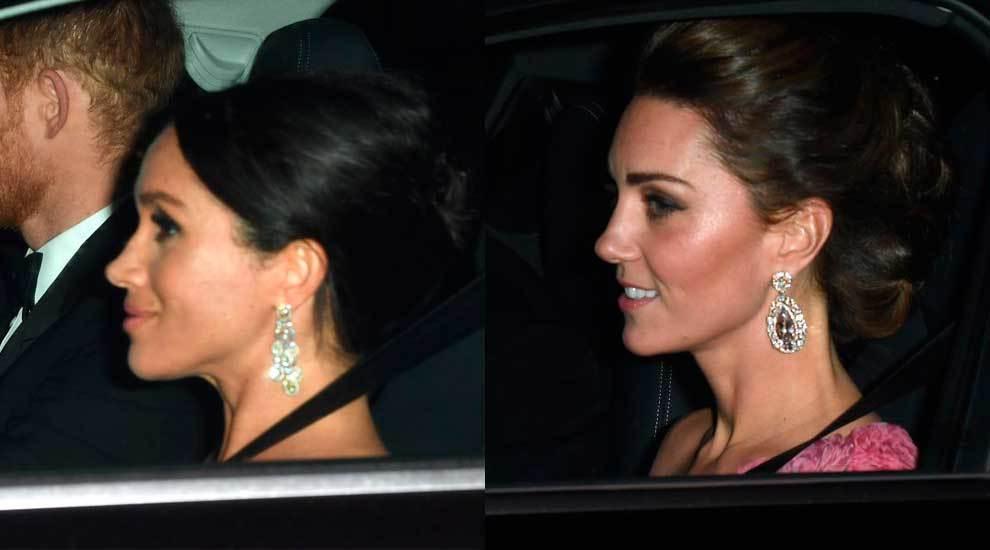 Meghan Markle y Kate Middleton luciendo pendientes de la casa real.