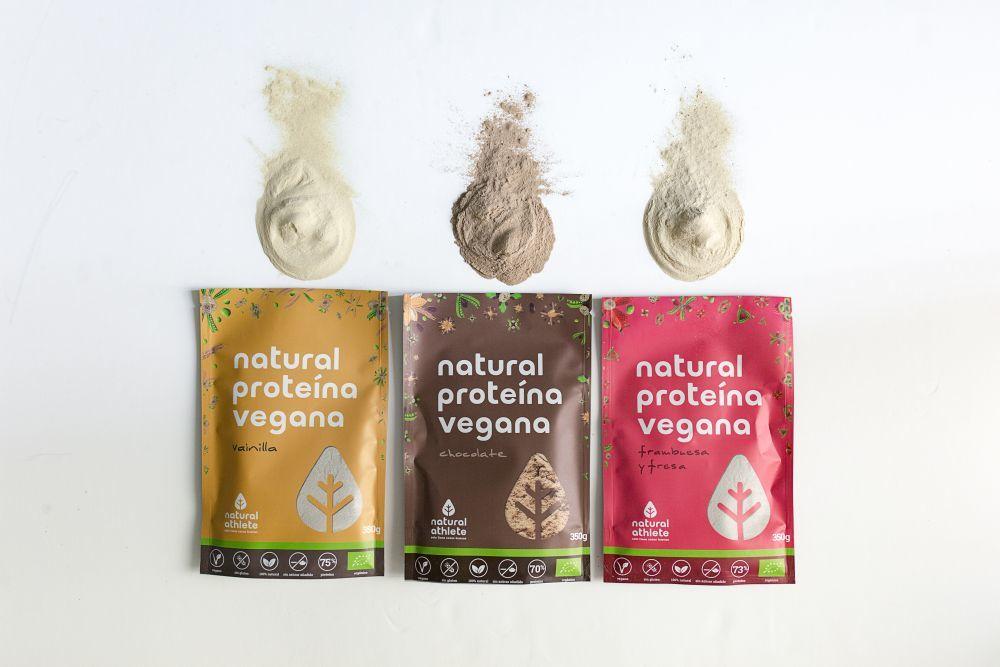 Proteína vegana en polvo de vainilla, chocolate y frambuesa de...