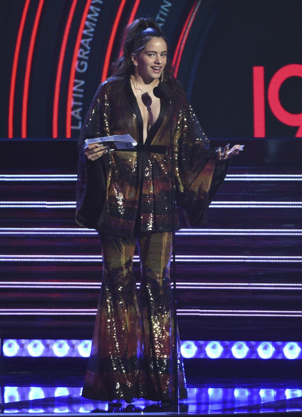 Rosalía ayer durante los Grammy,.