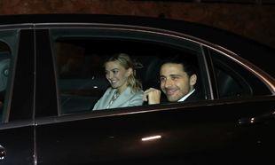 Los novios, Marta Ortega y Carlos Torreta, a su llegada a la fiesta