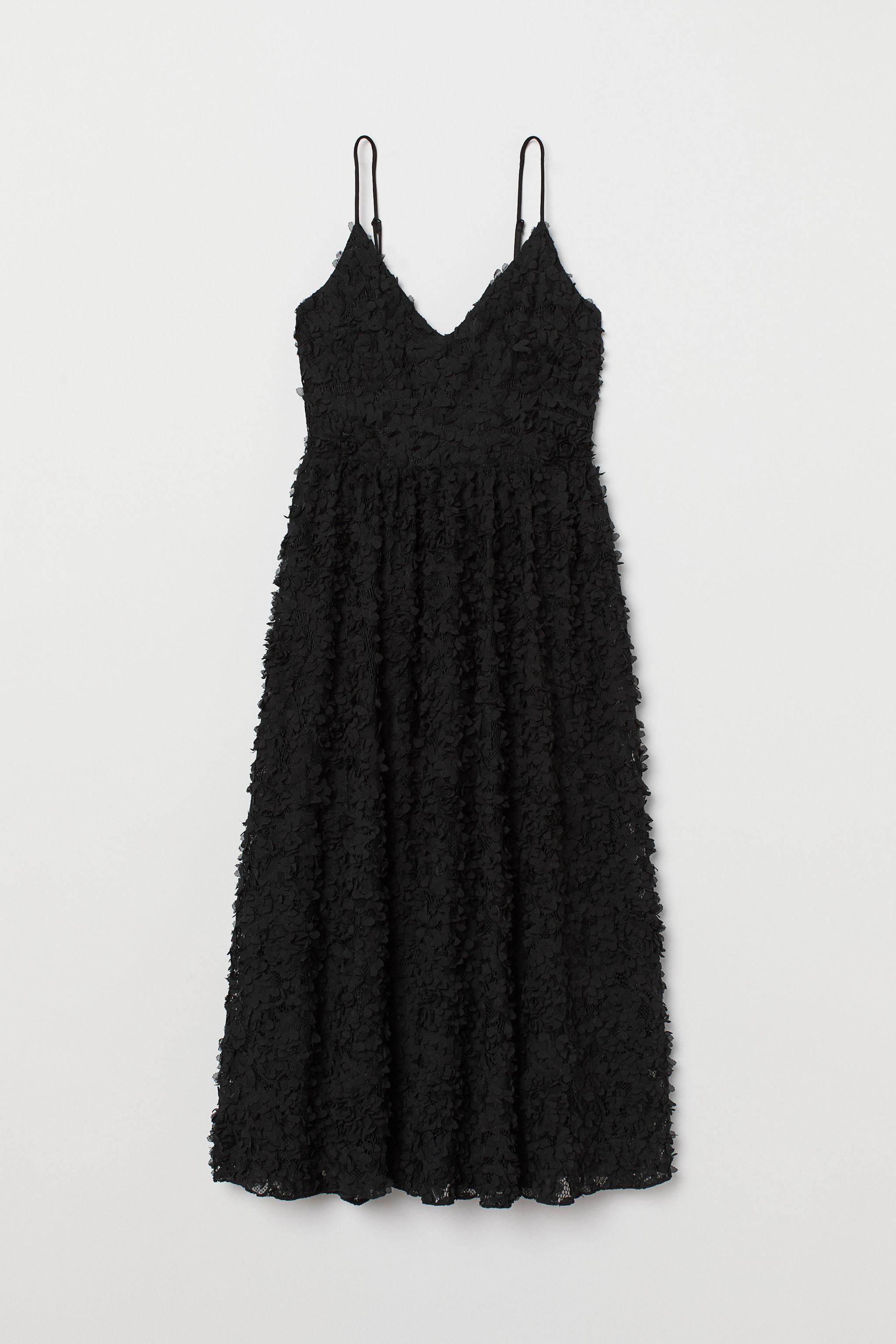 Vestido sin mangas de encaje con aplicaciones de gasa, de H&M (89,99...