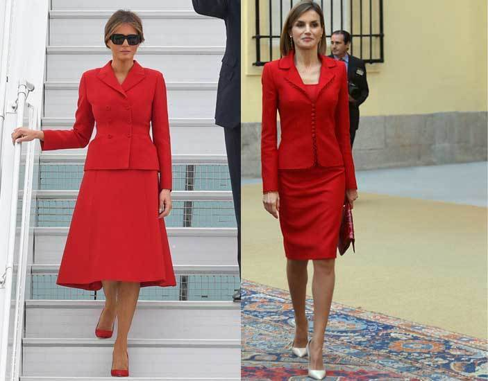 Melania Trump y la Reina Letizia con sastres en rojo