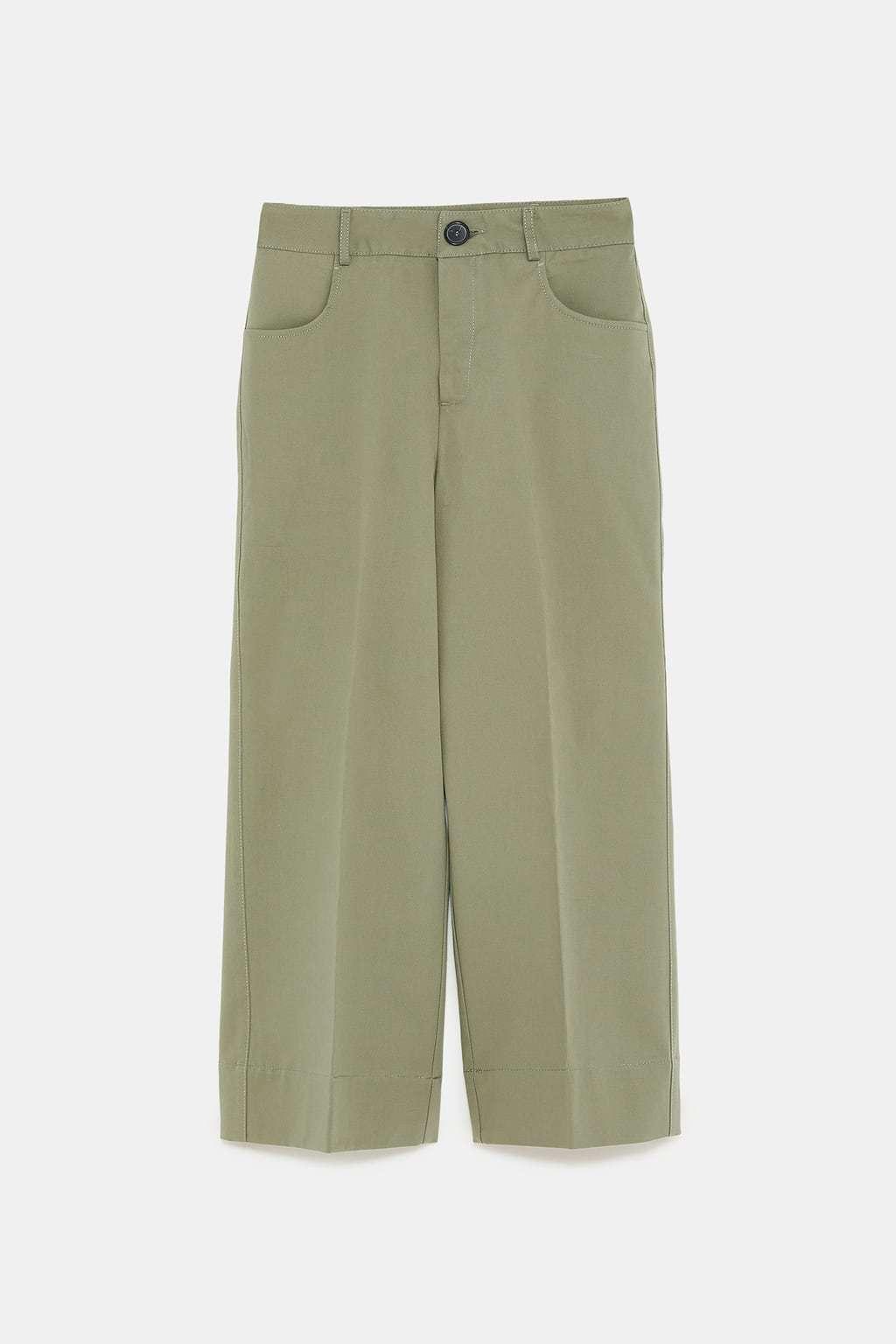 Pantalón culotte color  khaki  de tiro alto (29,95 euros).