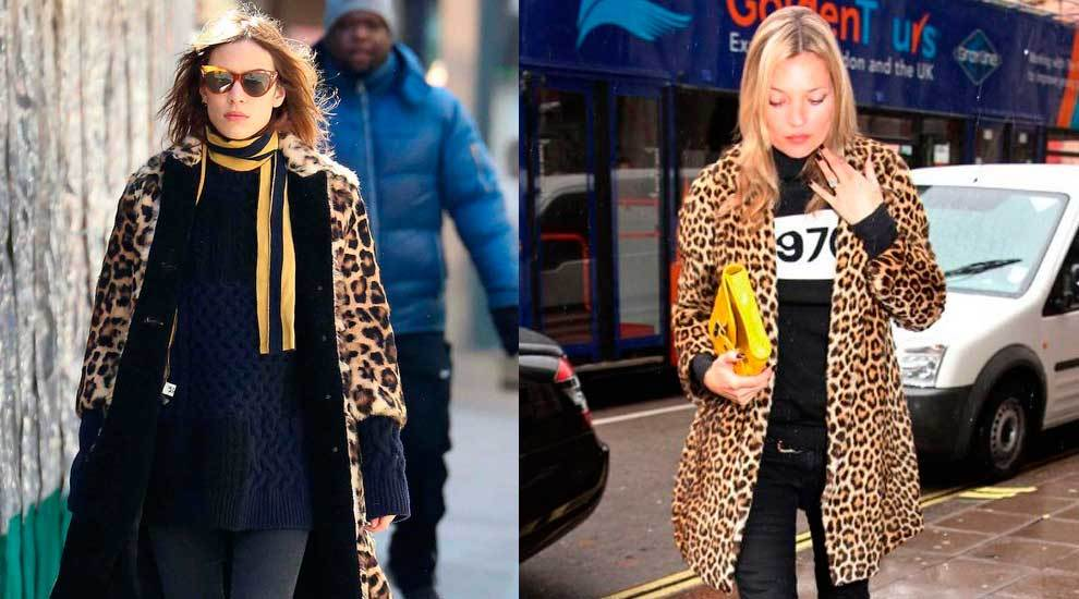 Alexa Chung y Kate Moss con abrigo de leopardo.