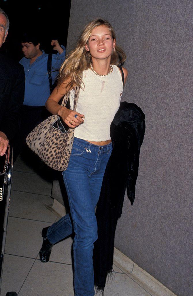 Kate Moss con bolso de leopardo.