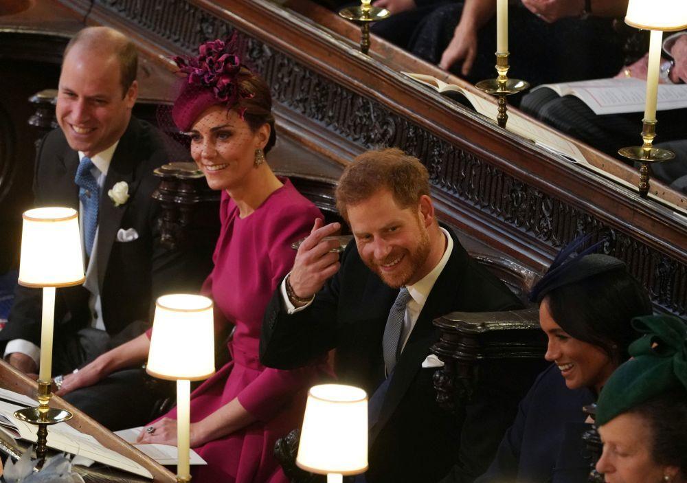 Los Duques de Cambridge y los de Sussex en la boda de Eugenia de York.