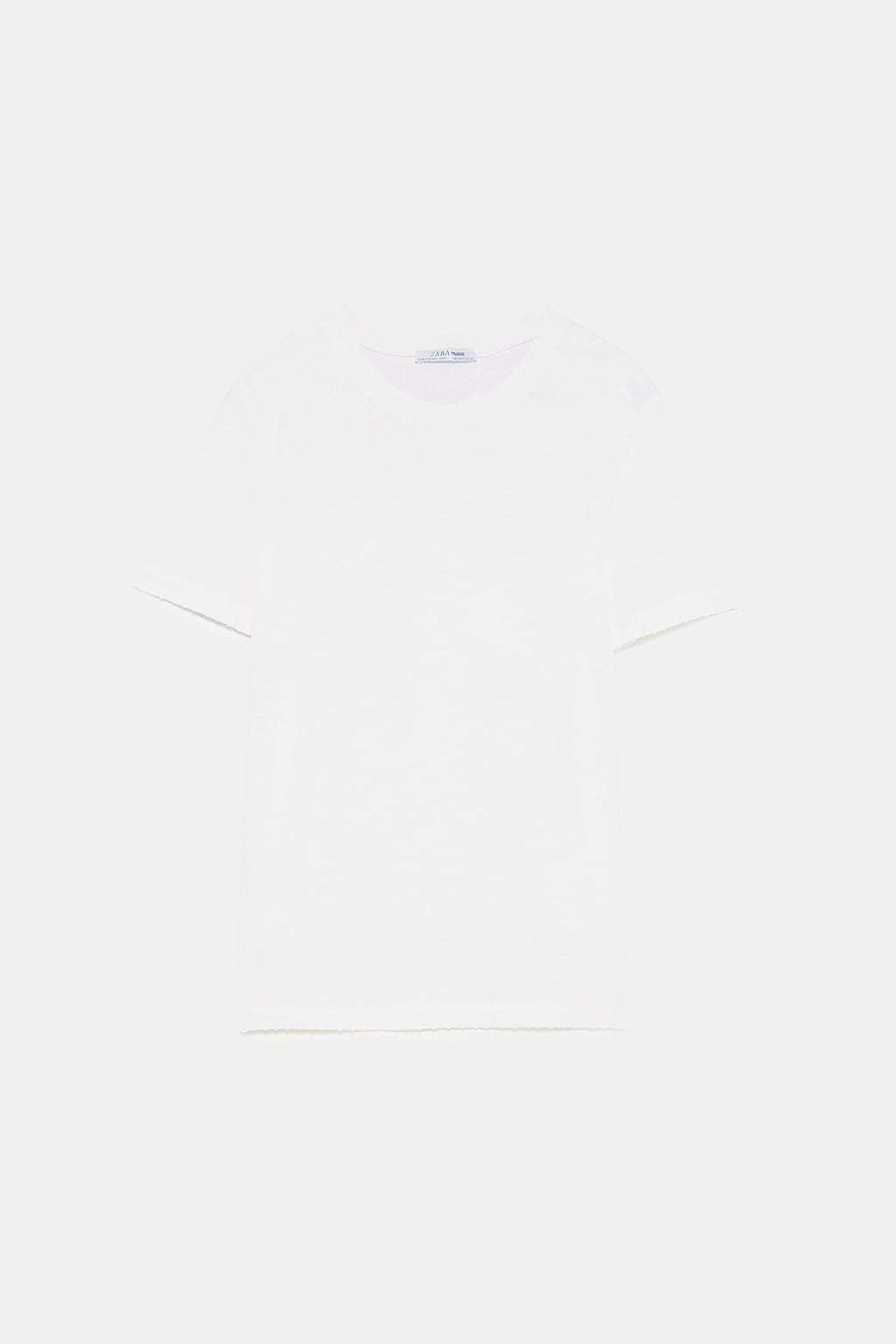 Camiseta básica blanca de Zara (7,95 euros)