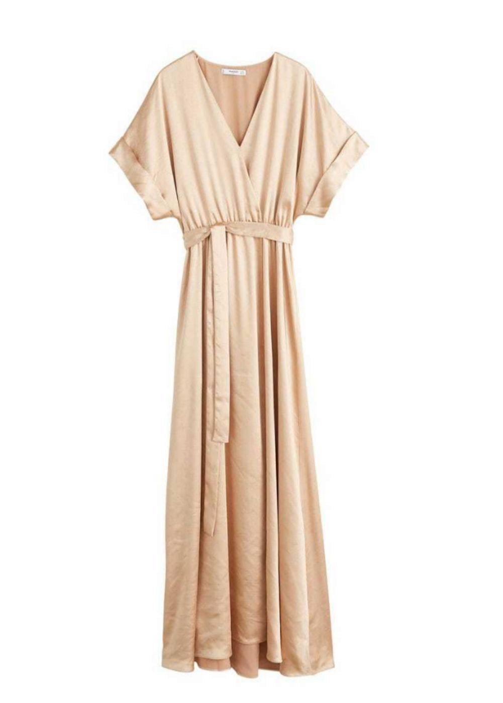 Vestido satinado con lazo, de Mango.(59,99 euros).
