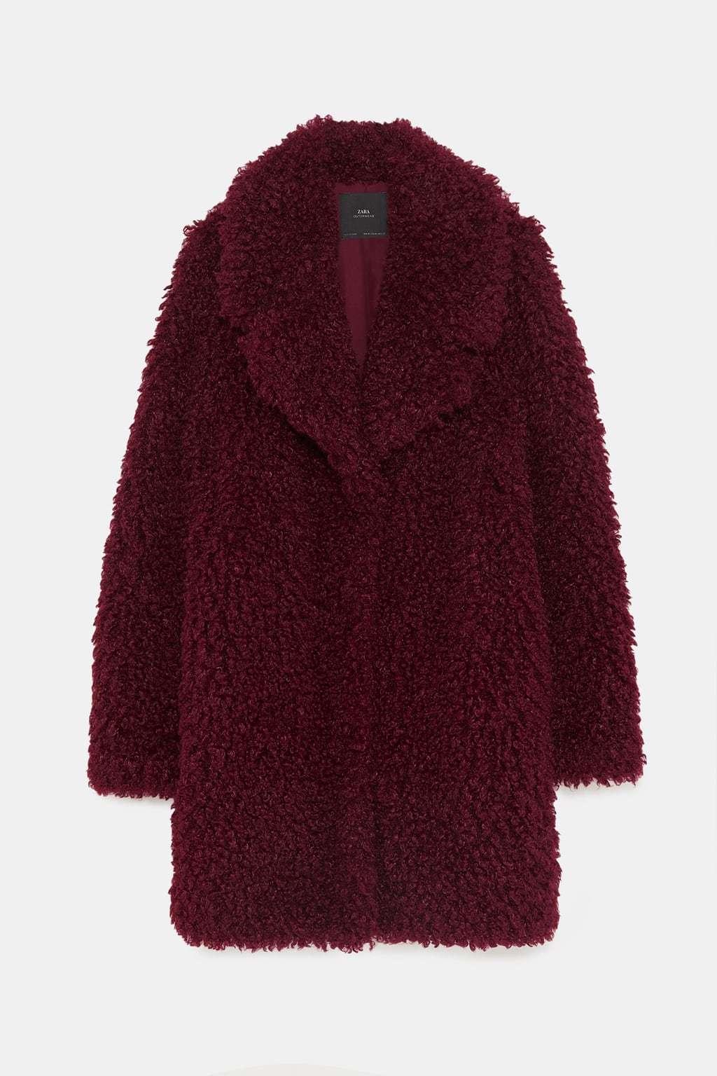Abrigo de pelo rojo zara