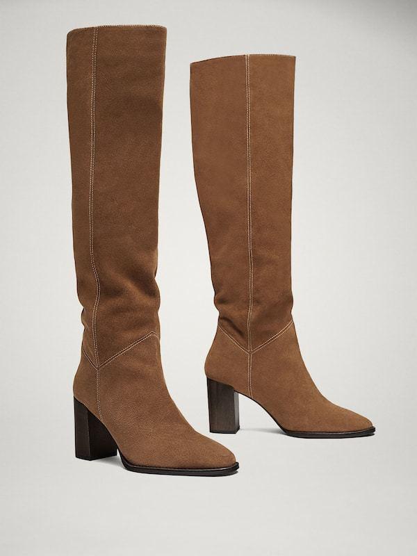 Botas altas en tono marrón, de Massimo Dutti (159 euros).