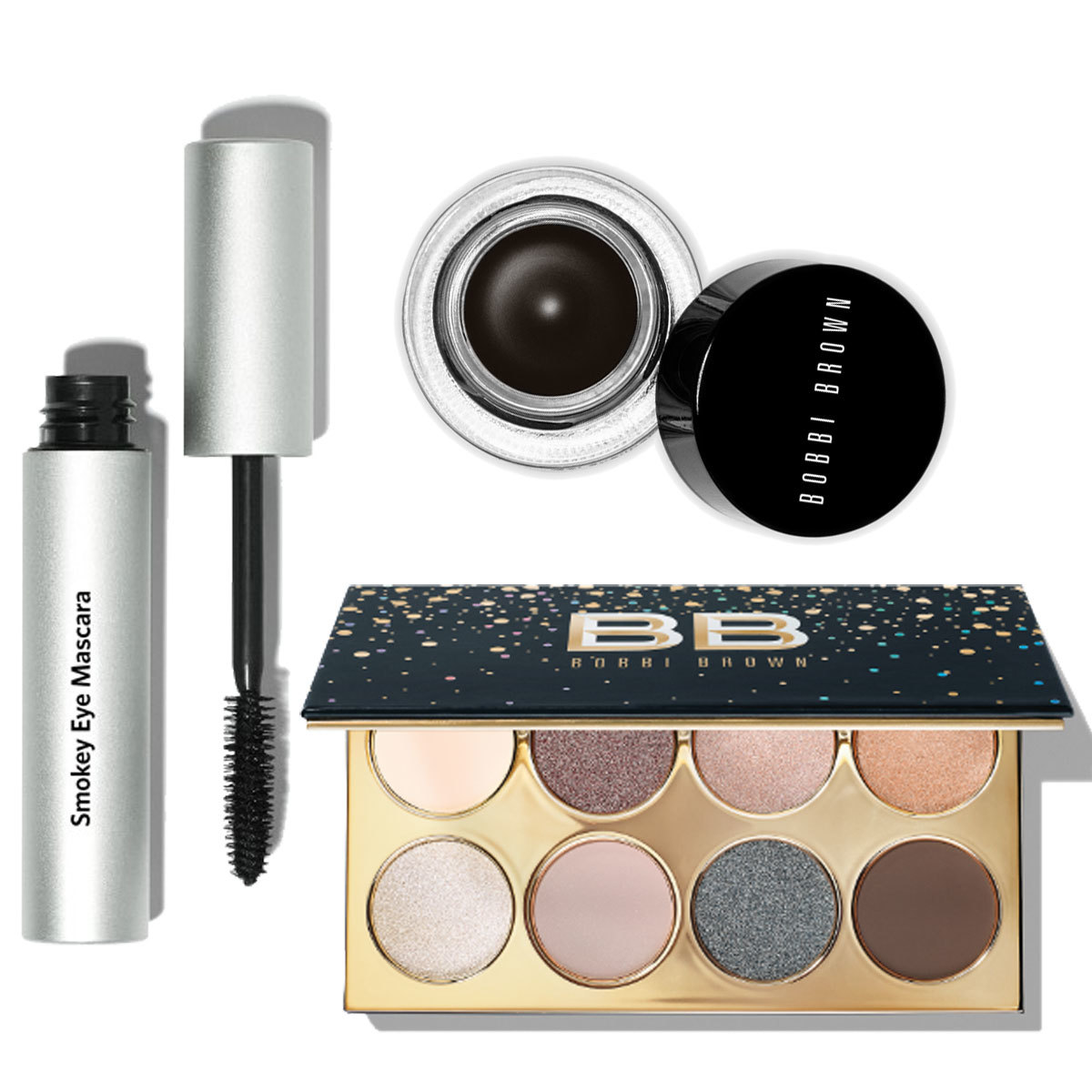 Smokey Eye Mascara; Long-Wear Gel Eyeliner Black Ink; Paleta de...