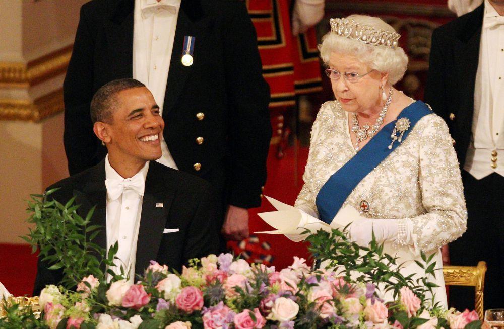 Isabel II junto a Barack Obama