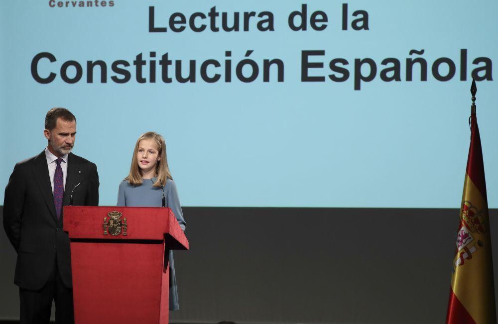 La princesa Leonor leyendo el artículo 1 de la Constitución...