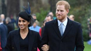 Meghan Markle y el príncipe Harry en Sandringham.