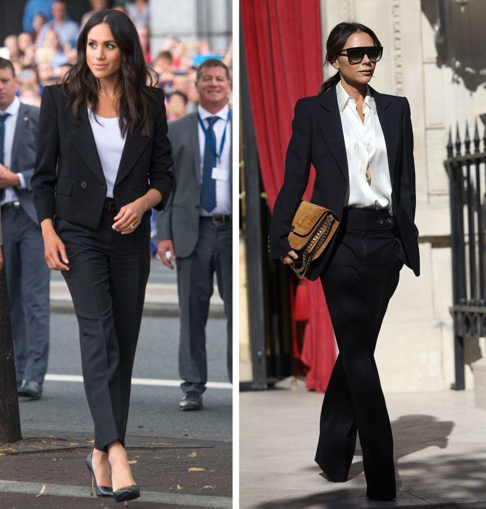 Meghan Markle y Victoria Beckham con esmoquin negro.