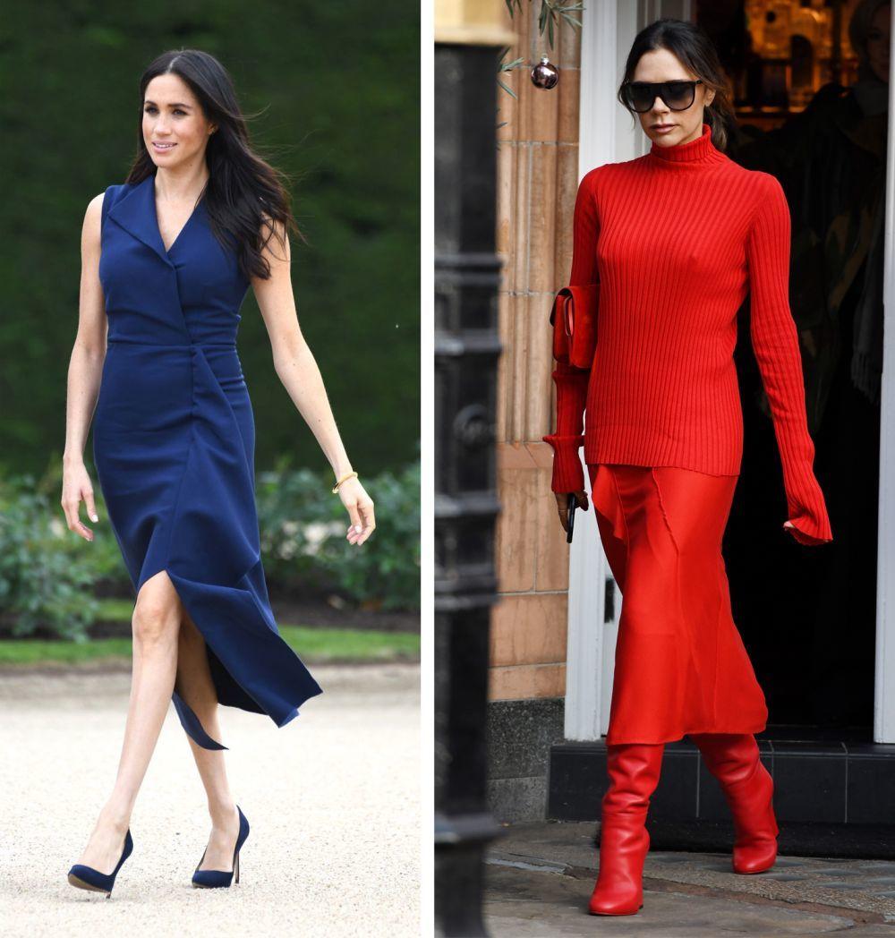 Meghan Markle con vestido y zapatos en azul marino y Victoria Beckham...