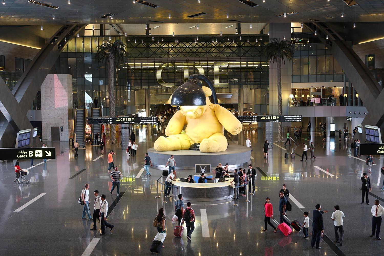 """El famoso """"Teddy Bear"""" del Aeropuerto Hamad de Doha."""