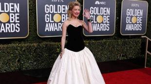 Amber Heard con una pulsera reivindicativa en la gala de los Globos de...