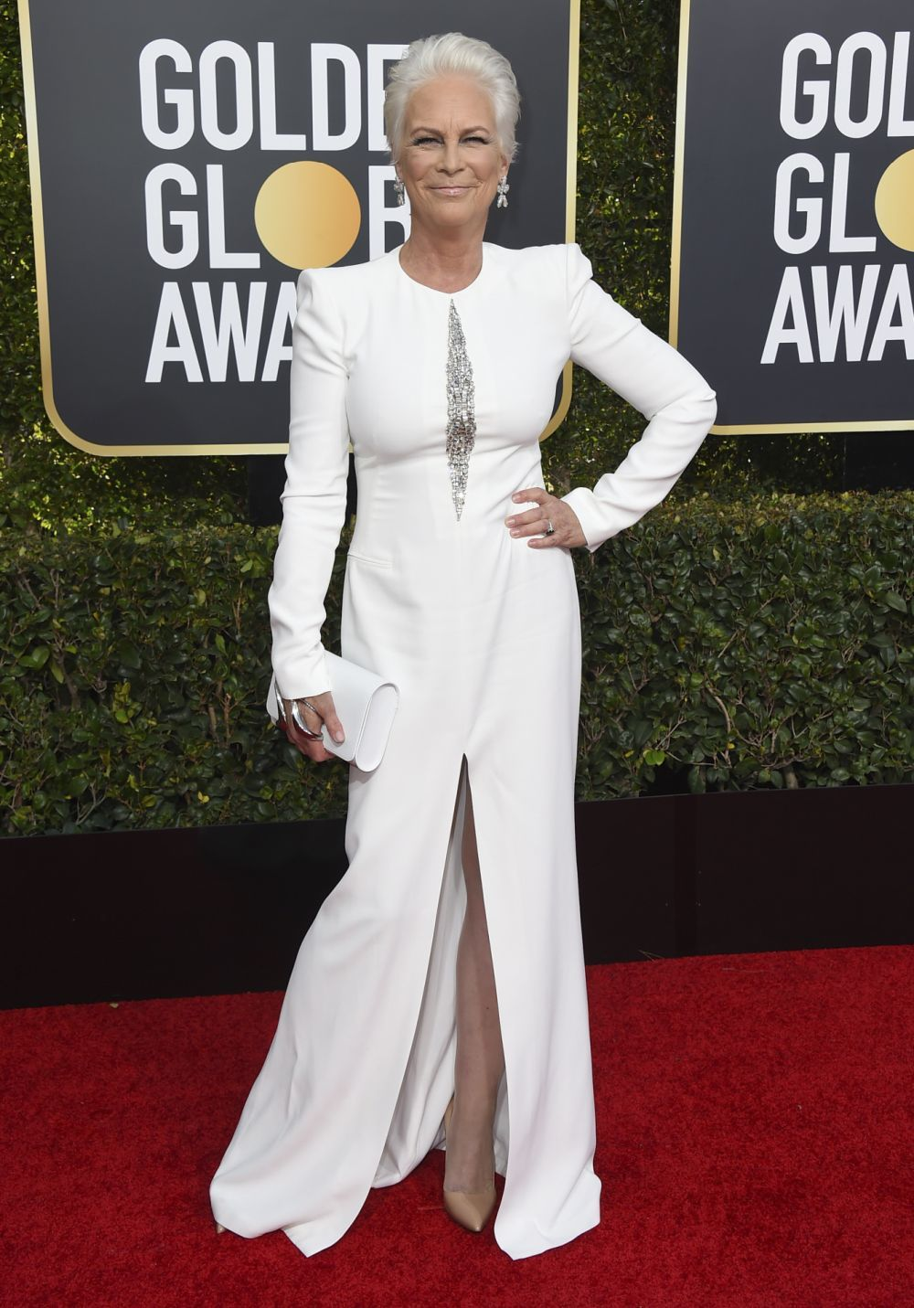 La actriz Jamie Lee Curtis espectacular con un vestido de Alexander...