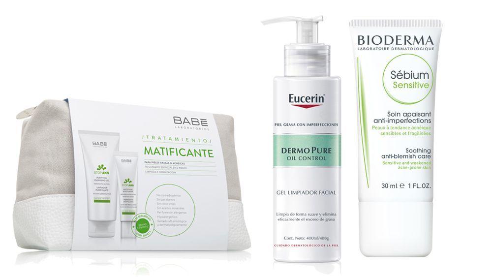 Kit tratamiento matificante de Laboratorios Babé con limpiador e hidratante (20,70 euros), Gel limpiador facial Oil Control, Eucerin (14,95 euros), Sébium Sensitive, Bioderma (15,95 euros).